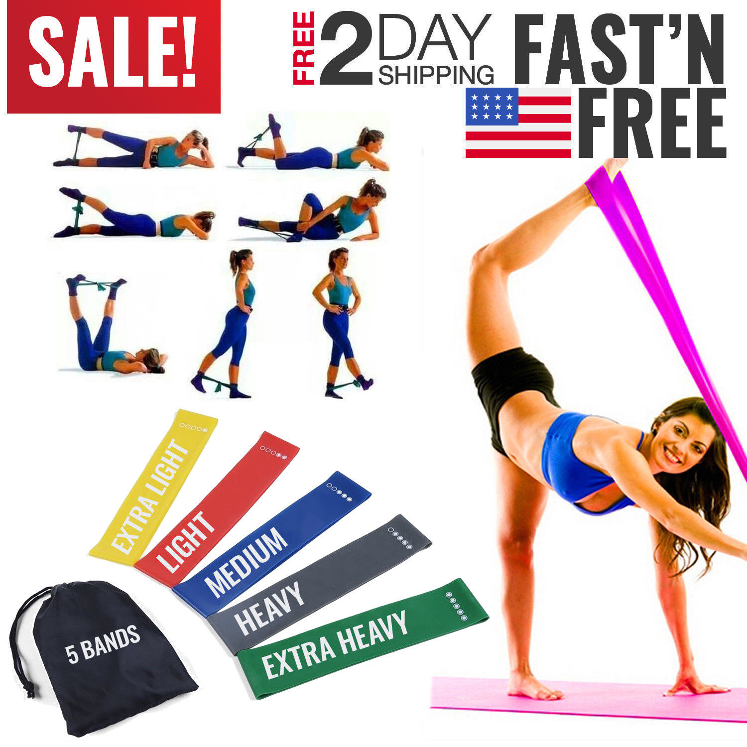 Resistance Exercise Bands Set Workout Train Loop Elastic